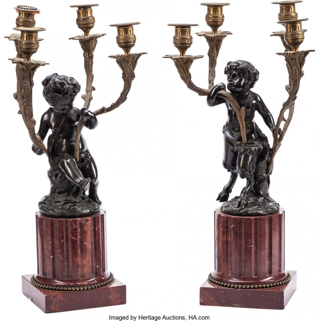 63398: A Pair of Louis XVI-Style Figural Four-Light Can
