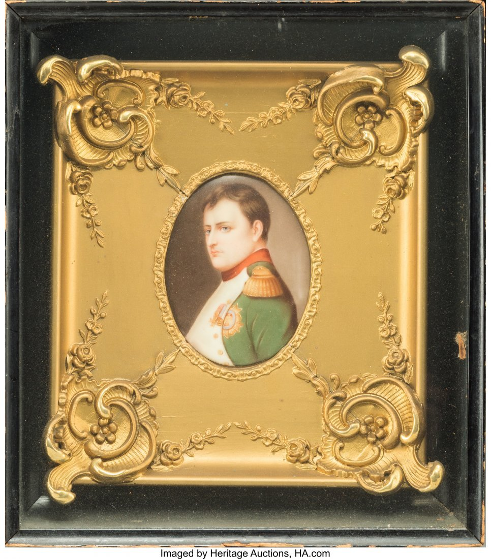 63078: A Framed German Painted Porcelain Plaque of Napo