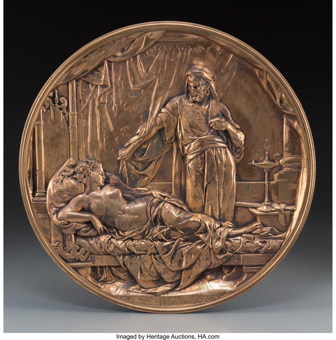 63079: An Emile Louis Picault Bronze Wall Plaque: Othel