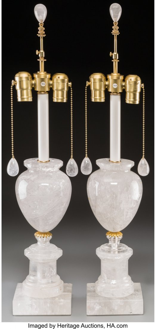 63249: A Pair of Carved Rock Crystal Lamp Bases, 21st c