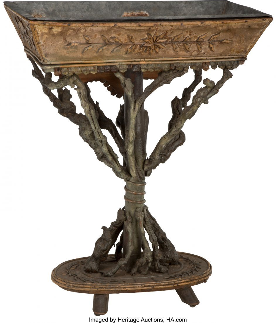 63083: A Continental Carved Wood Grotto Jardiniere, 19t - 2