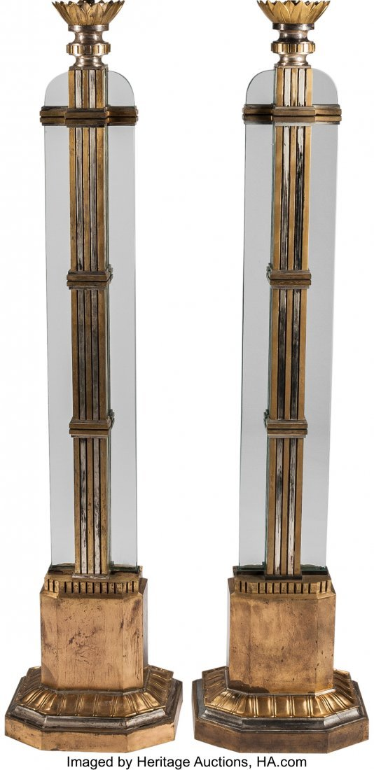 63329: A Pair of Art Deco Floor Lamps 80 inches high (2