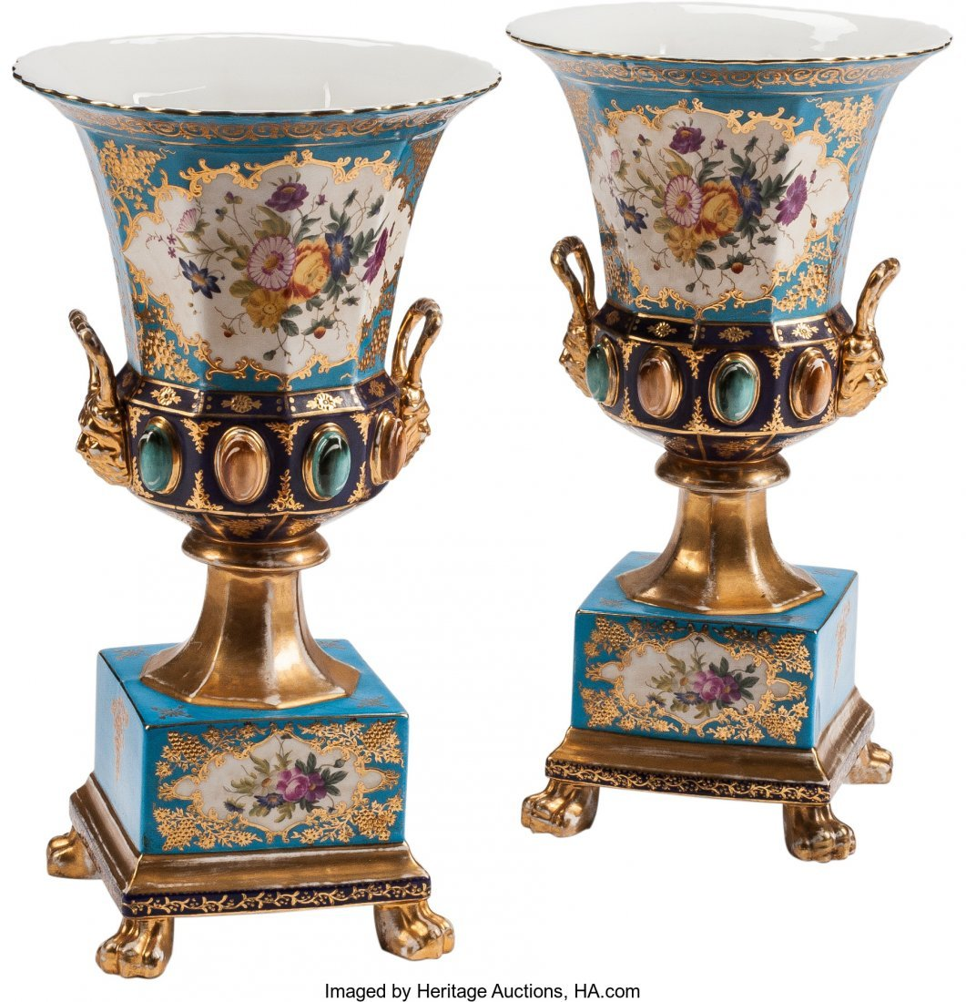 63404: A Pair of Sevres-Style Paint-Decorated Porcelain