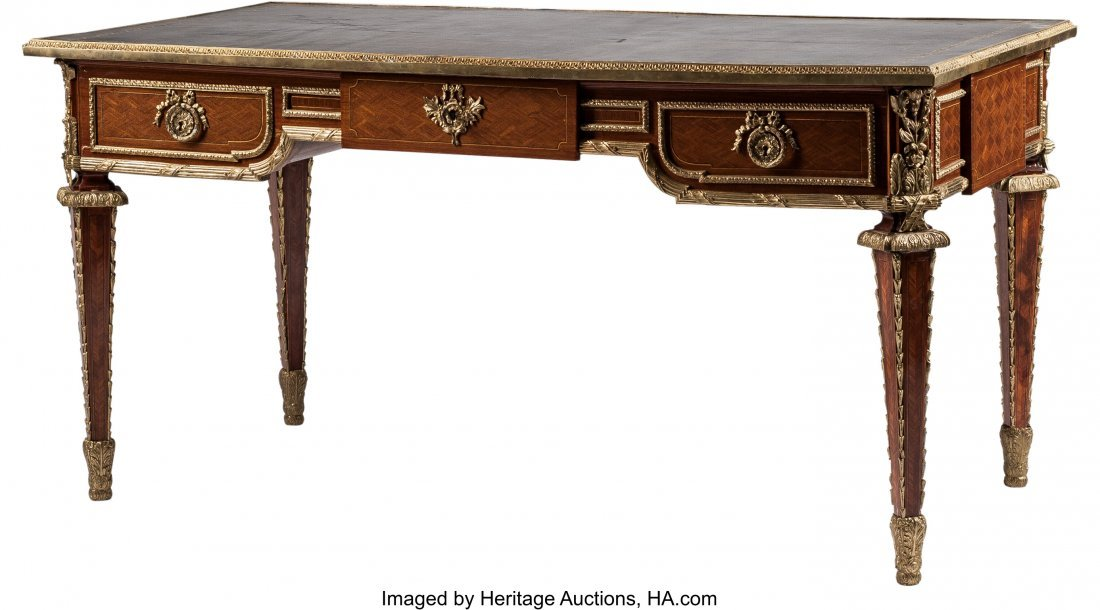 63405: A Louis XVI-Style Parquetry and Gilt Bronze-Moun
