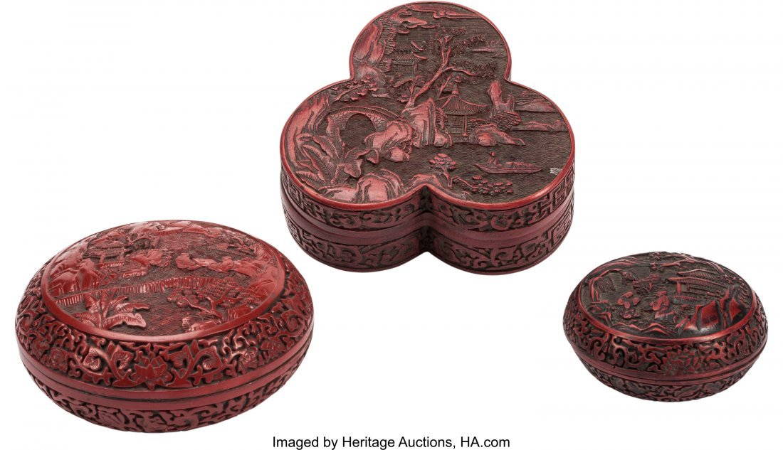 63511: Three Chinese Cinnabar Lacquered Covered Boxes 2