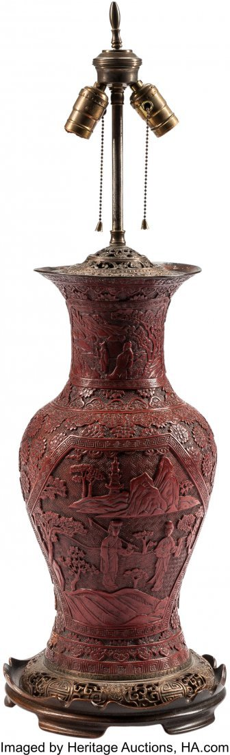 63512: A Chinese Cinnabar-Lacquered Vase Mounted as a L
