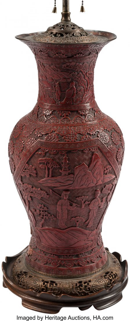 63512: A Chinese Cinnabar-Lacquered Vase Mounted as a L - 2