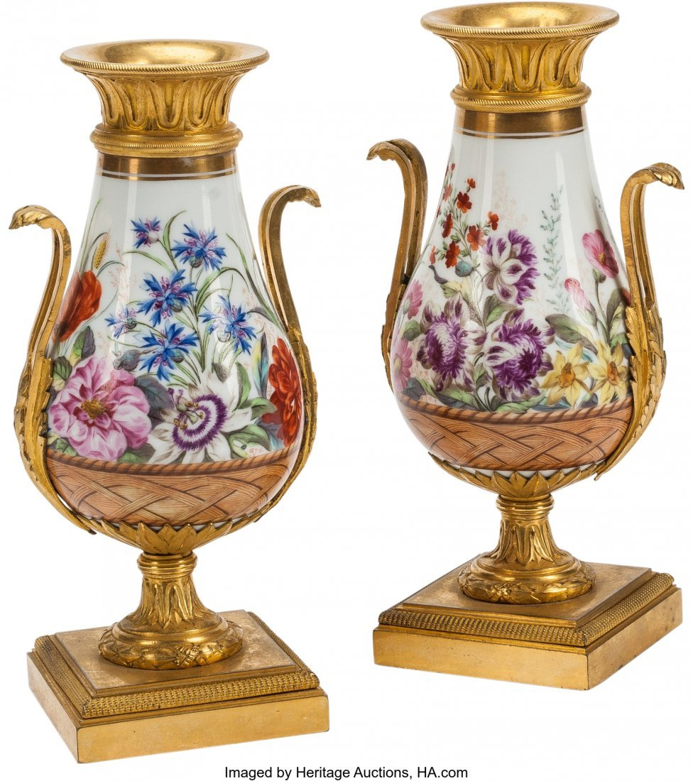 63407: A Pair of Directoire-Style Porcelain and Gilt Br