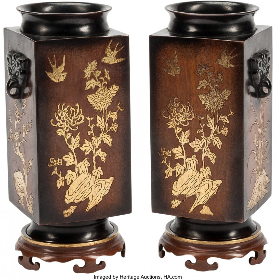 63514: A Pair of Chinese Bronze and Mixed Metal Vases w