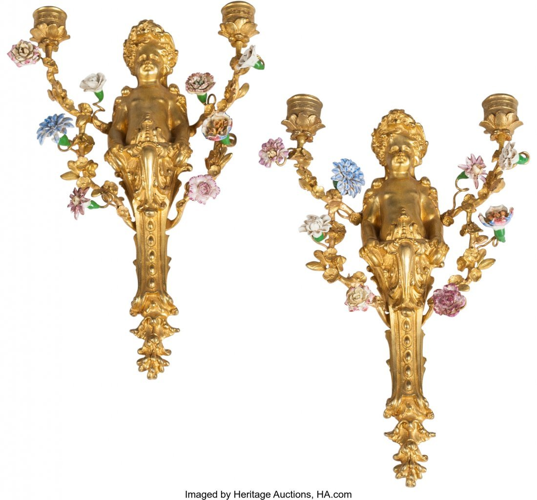 63409: A Pair of French Gilt Bronze and Porcelain Figur