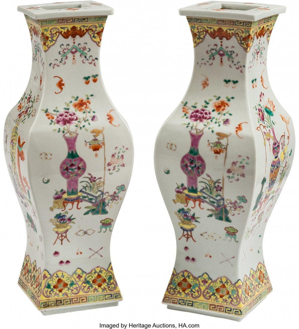 63516: A Pair of Chinese Enameled Porcelain Squared Vas