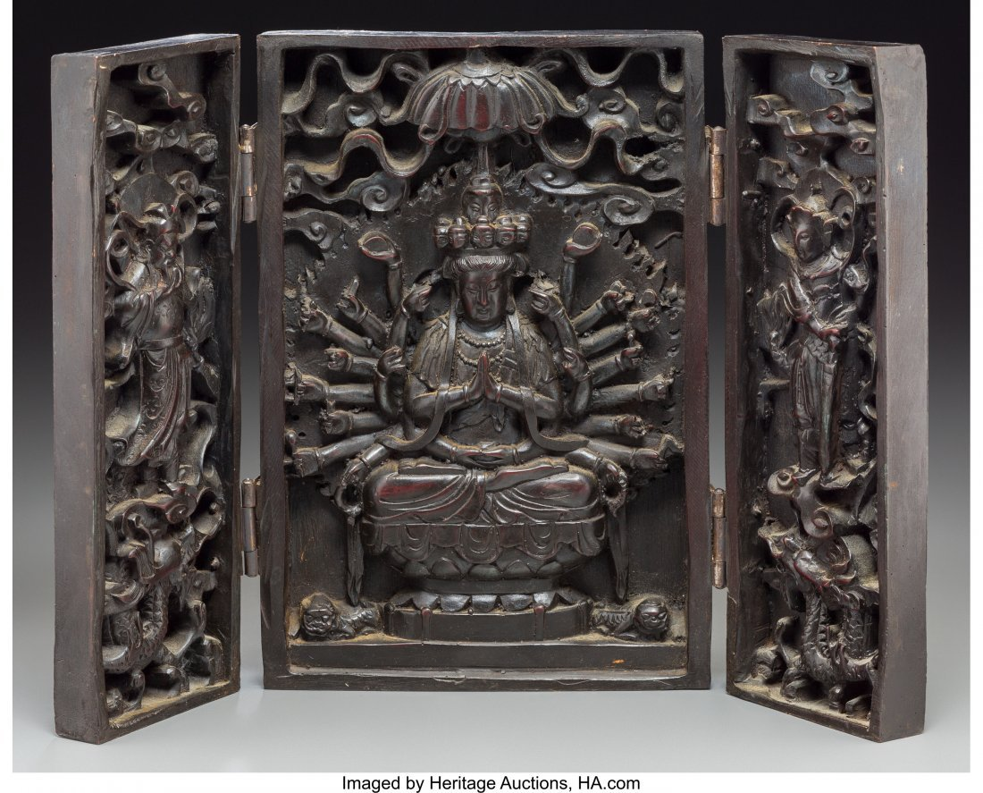 63517: A Chinese Carved Hardwood Tri-Fold Shrine 10-1/4