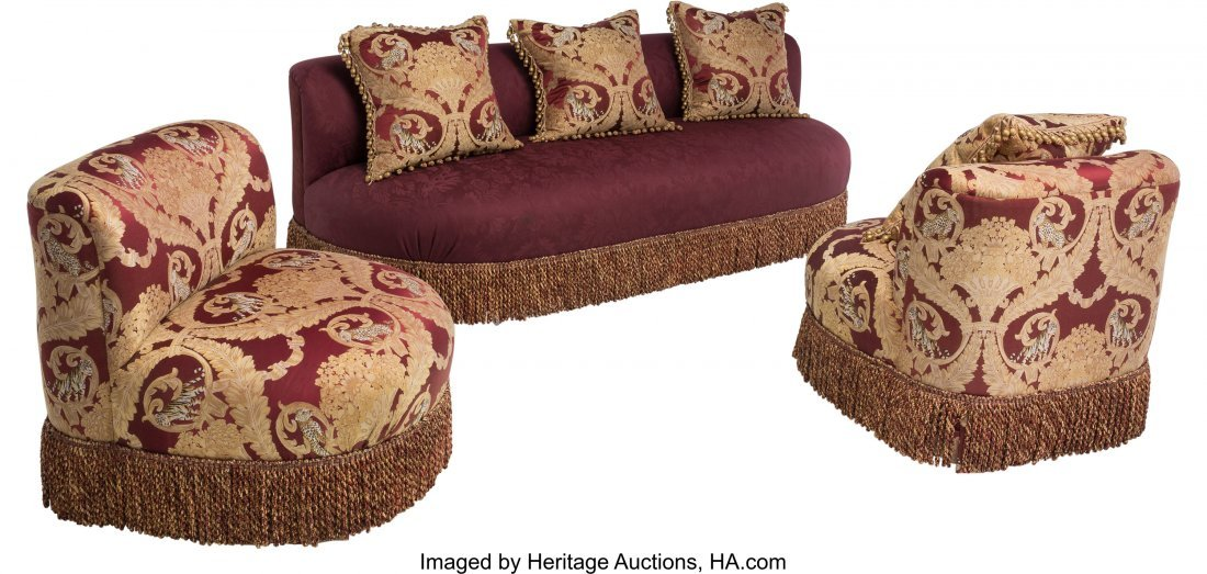63450: A Three-Piece Ottoman-Style Upholstered Salon Su