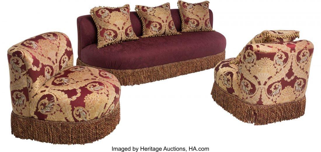 63450: A Three-Piece Ottoman-Style Upholstered Salon Su