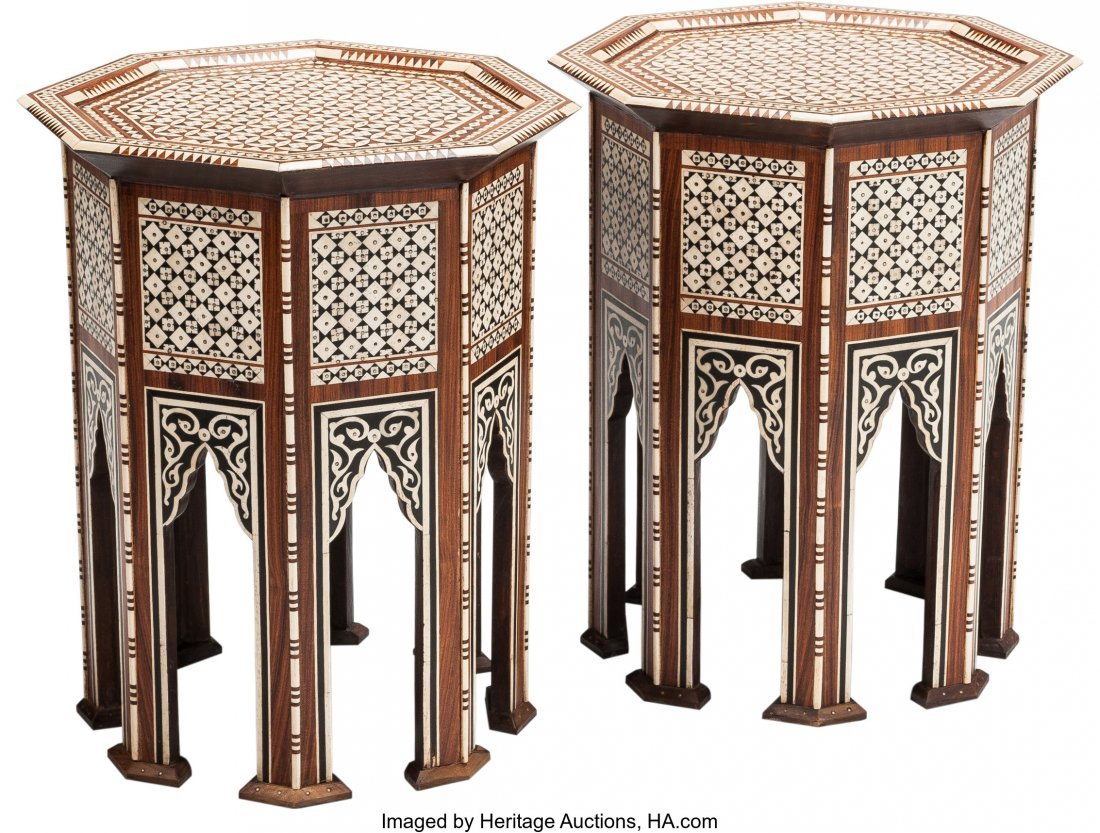 63452: A Pair of Moorish Octagonal Inlaid Side Tables,