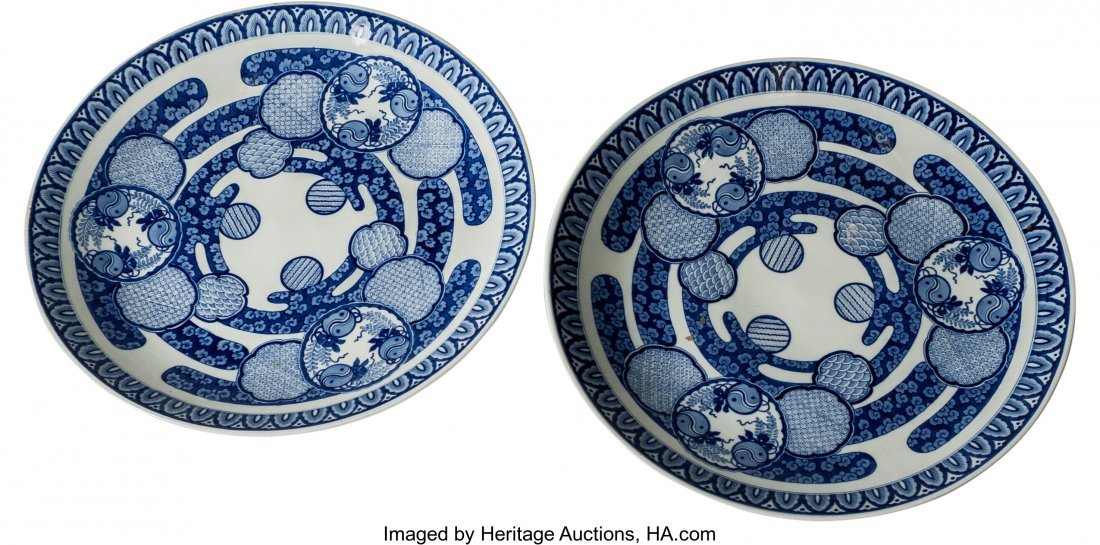 63455: A Pair of Japanese Blue and White Kutani Porcela