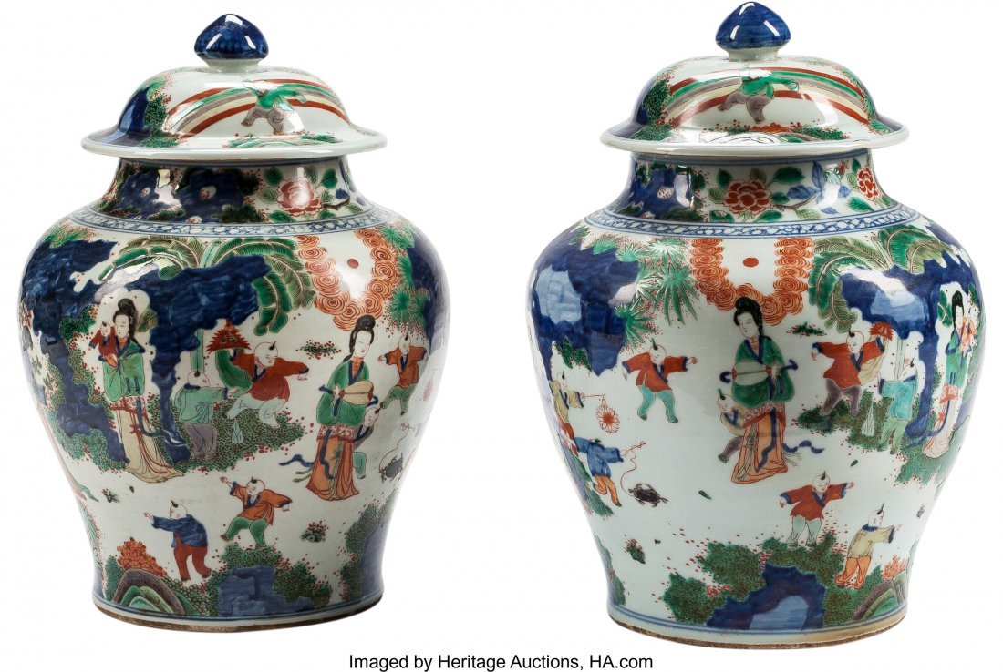 63459: A Pair of Chinese Enameled Porcelain Covered Jar
