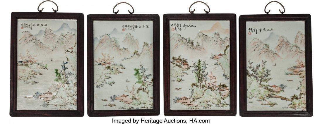 63460: Four Chinese Enameled Porcelain Landscape Plaque