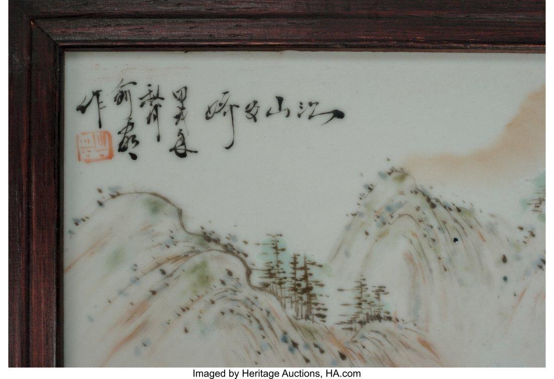 63460: Four Chinese Enameled Porcelain Landscape Plaque - 2