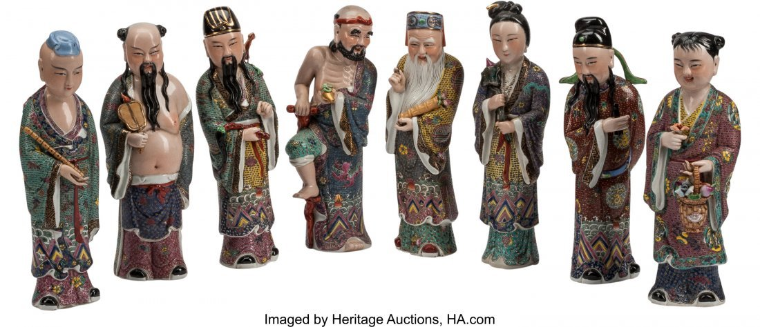 63461: Eight Chinese Enameled Porcelain Immortal Figure
