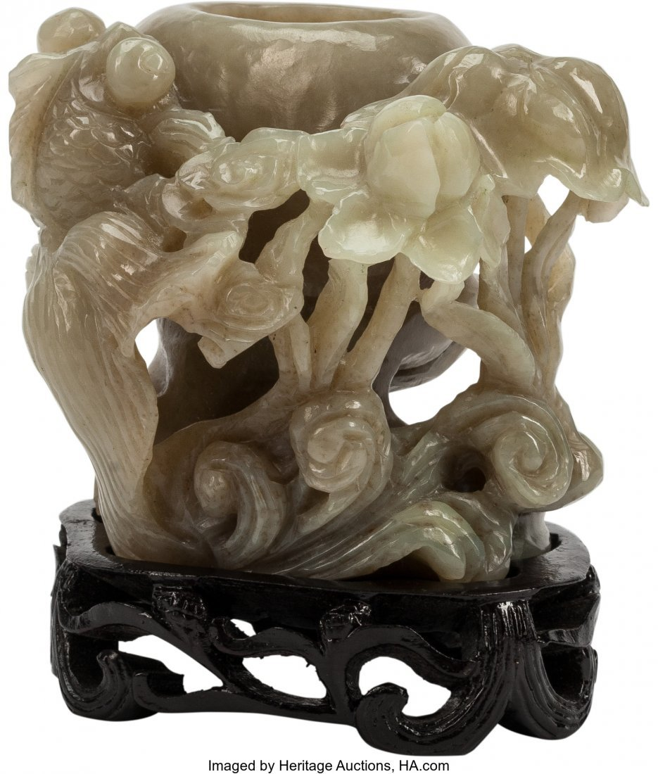 63465: A Chinese Carved Jadeite Brush Pot on Base 4 h x