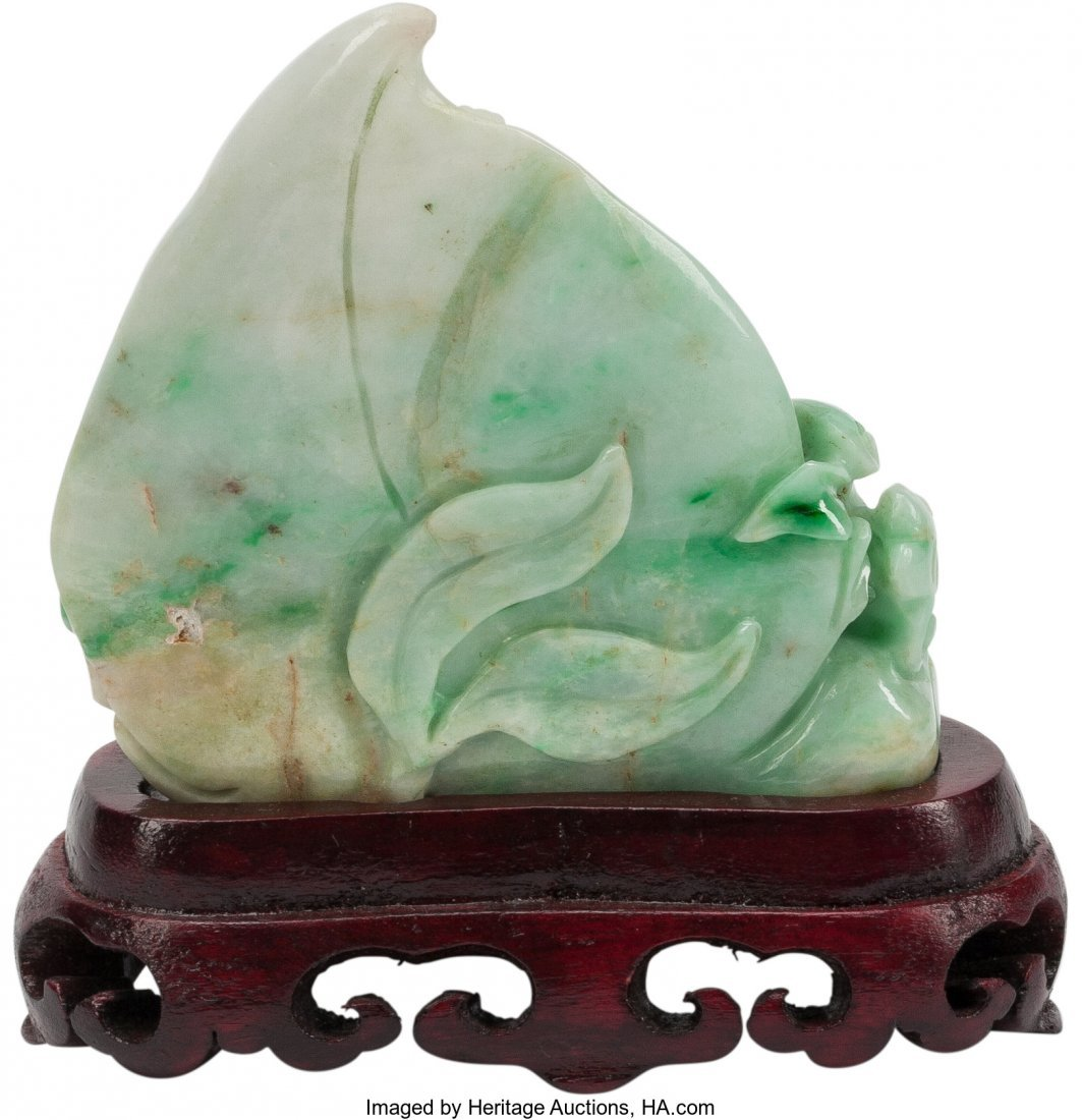 63470: A Small Chinese Jade Carving on Hardwood Base 3  - 2