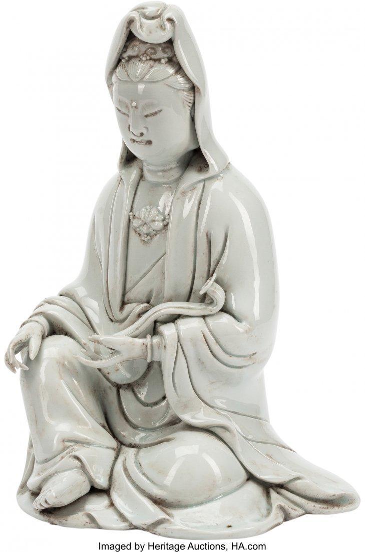 63471: A Chinese Blanc-de-Chine Porcelain Guanyin Figur