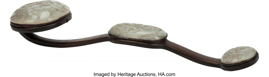 63473: A Chinese Carved Jade and Hardwood Scepter with