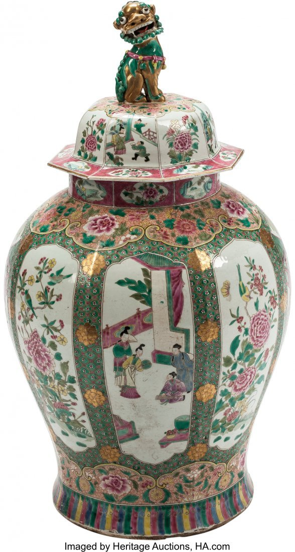 63474: A Large Chinese Famille Rose Porcelain Covered U