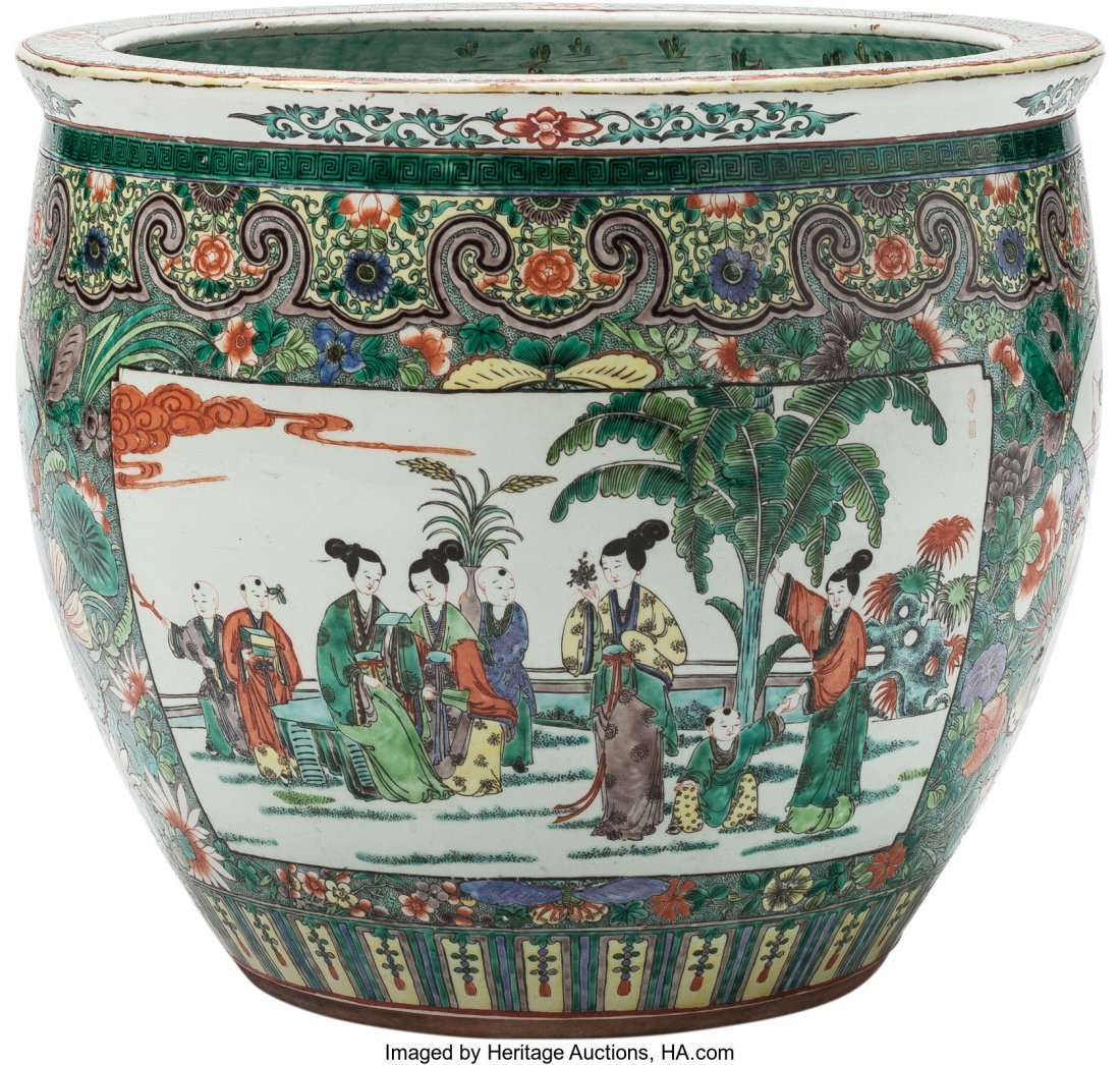 63476: A Large Chinese Famille Verte Porcelain Fishbowl