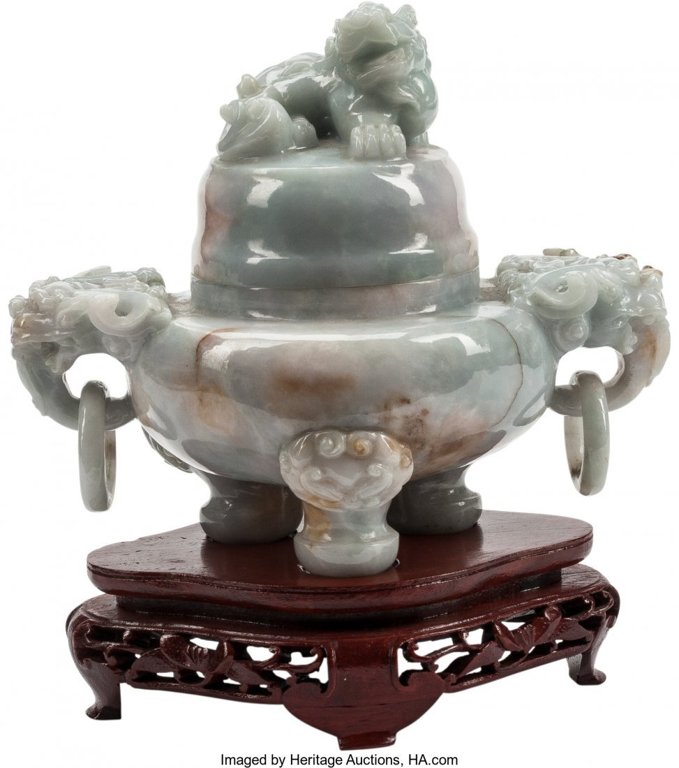 63477: A Chinese Carved Jade Censer with Figural Finial