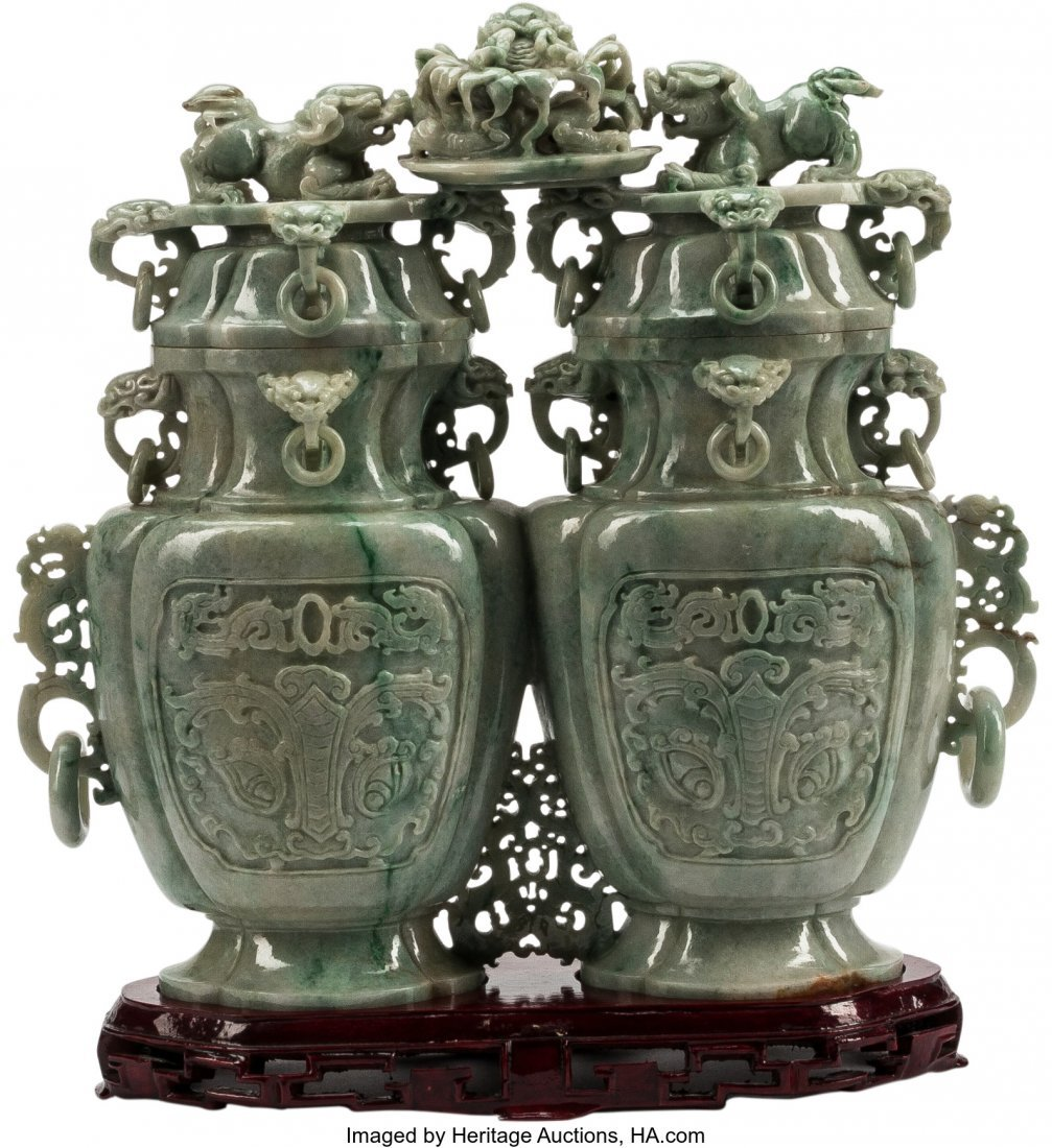 63480: A Large Chinese Carved Jade Double Vase on Hardw
