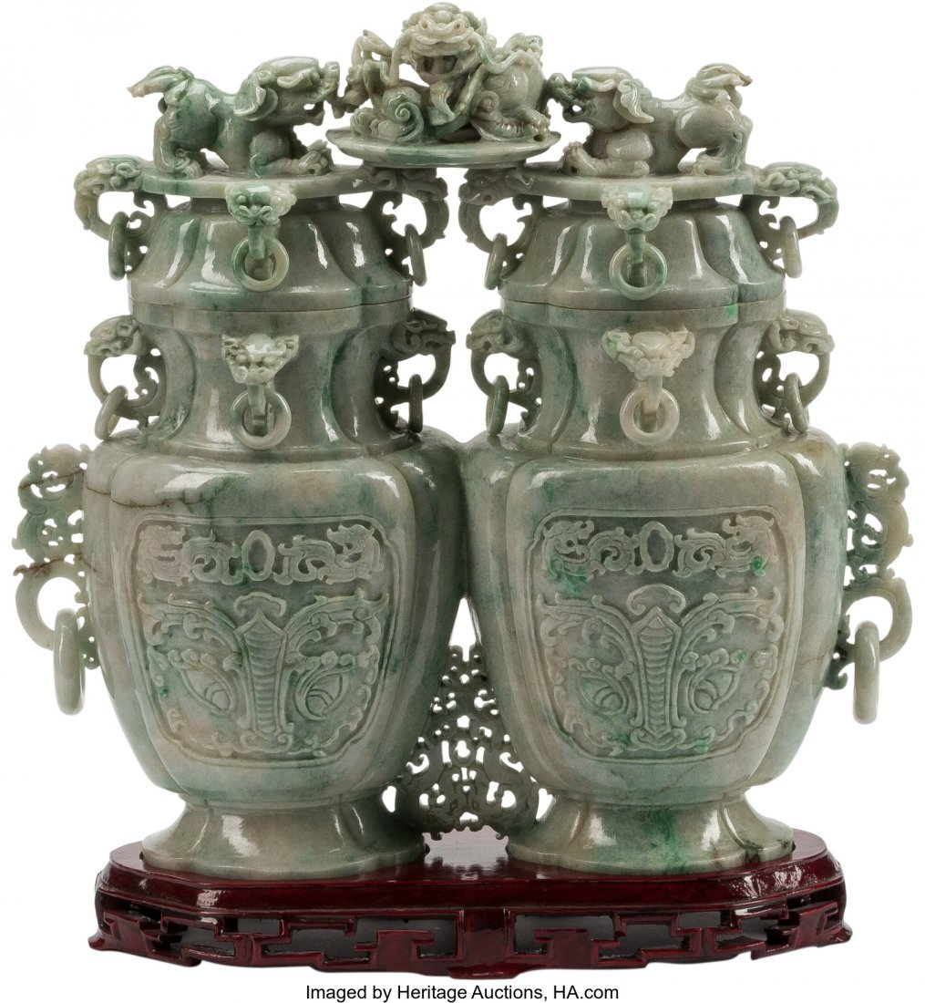 63480: A Large Chinese Carved Jade Double Vase on Hardw - 3