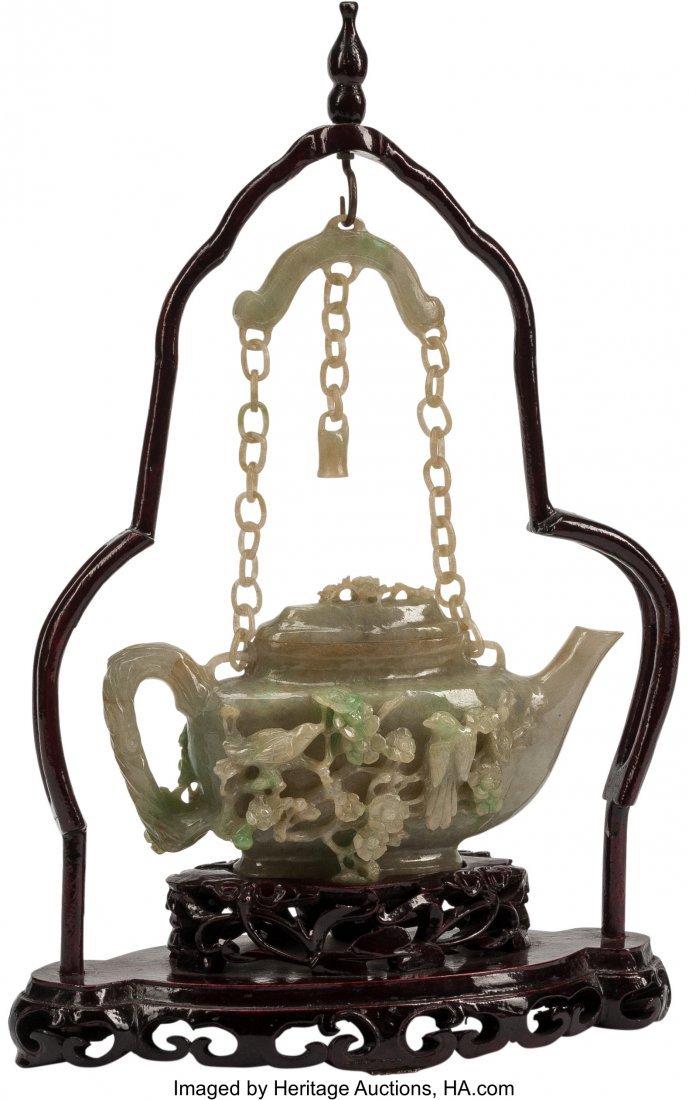 63482: A Chinese Carved Jade Teapot on Hardwood Base 15