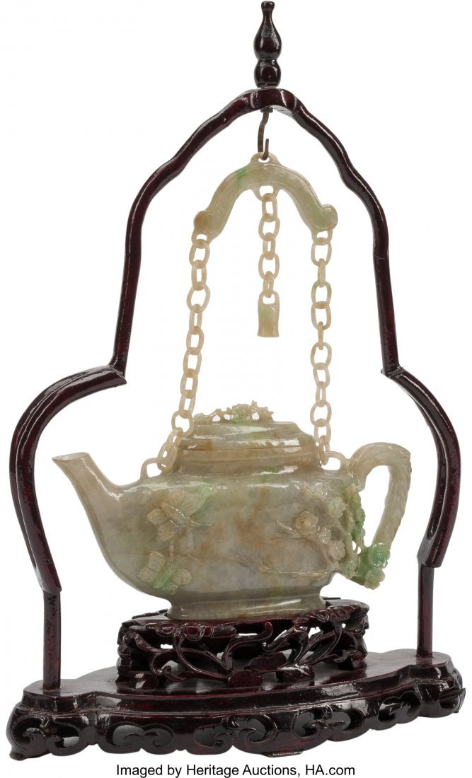 63482: A Chinese Carved Jade Teapot on Hardwood Base 15 - 2