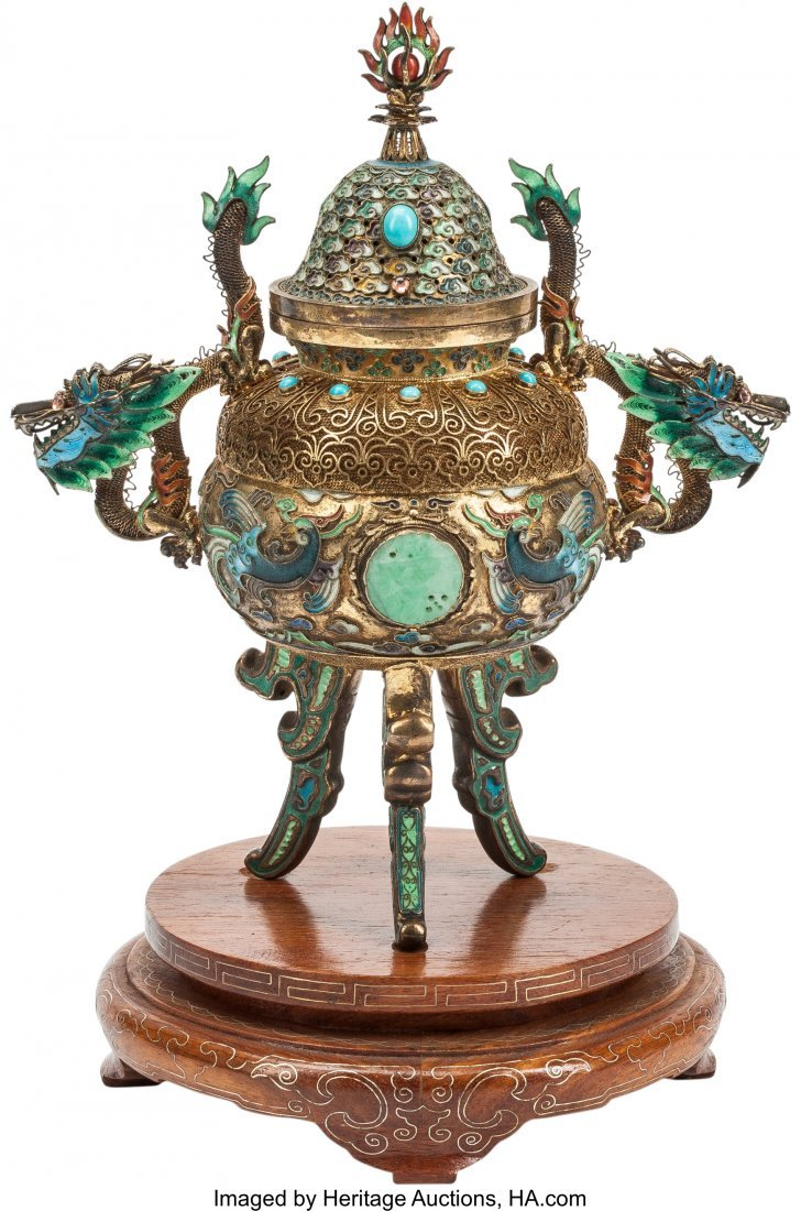 63484: A Chinese Turquoise and Jade-Mounted Censer on H