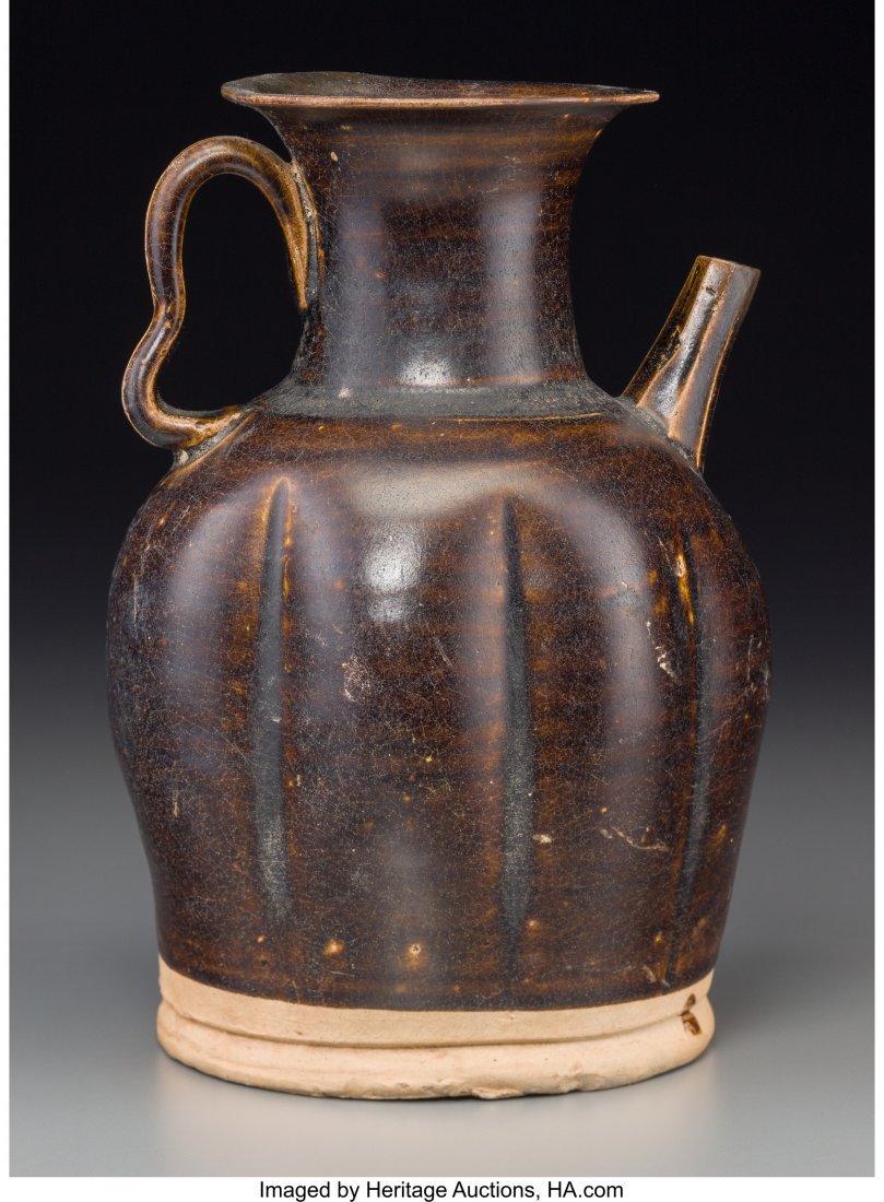63497: A Chinese Brown Glazed Stoneware Water Ewer, Tan