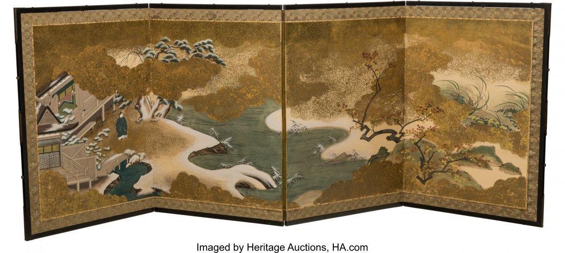 63499: A Japanese Painted Folding Screen, late Meiji Pe