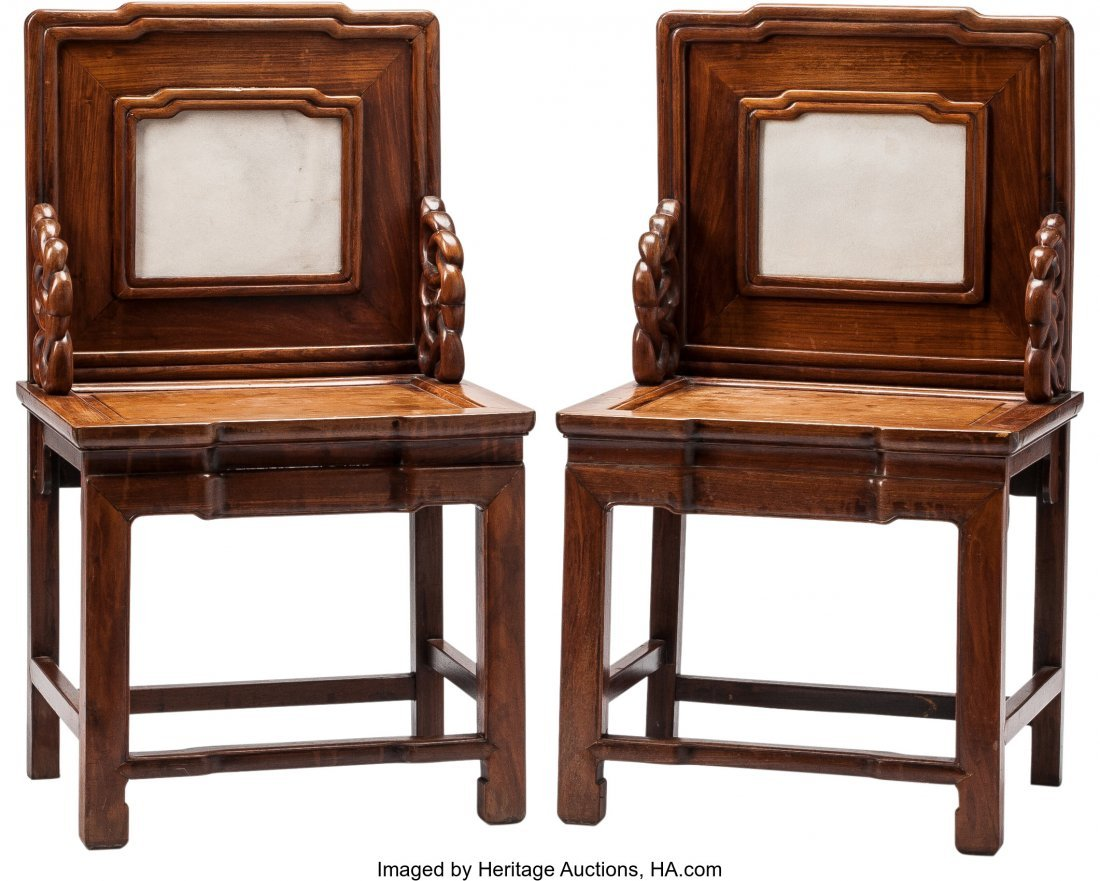 63500: A Pair of Chinese Armchairs with Inset Marble Pl