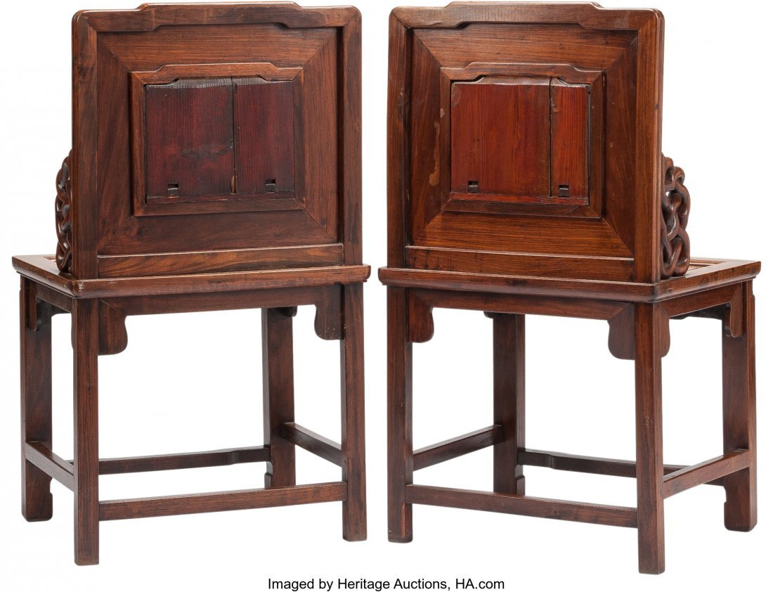 63500: A Pair of Chinese Armchairs with Inset Marble Pl - 2