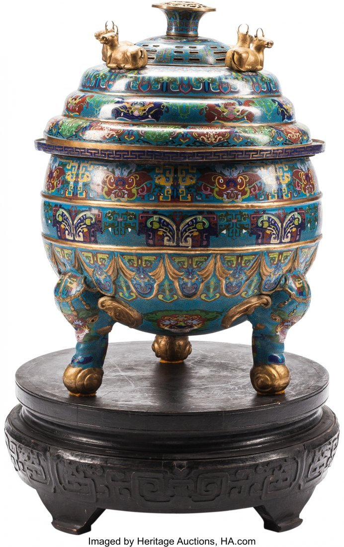 63501: A Large Chinese Cloisonné Covered Censer on Har