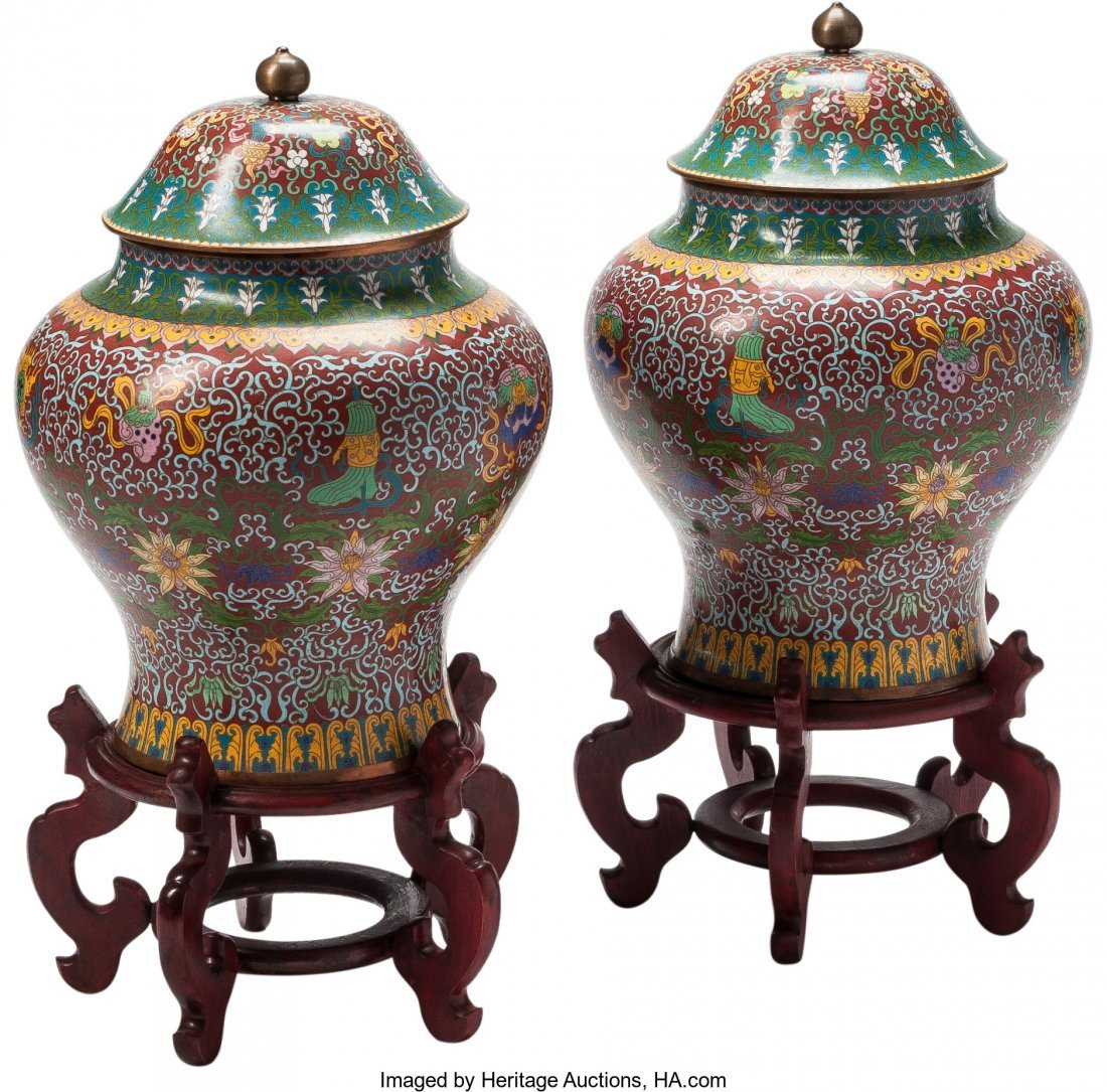 63502: A Pair of Chinese Cloisonné Covered Urns on Har