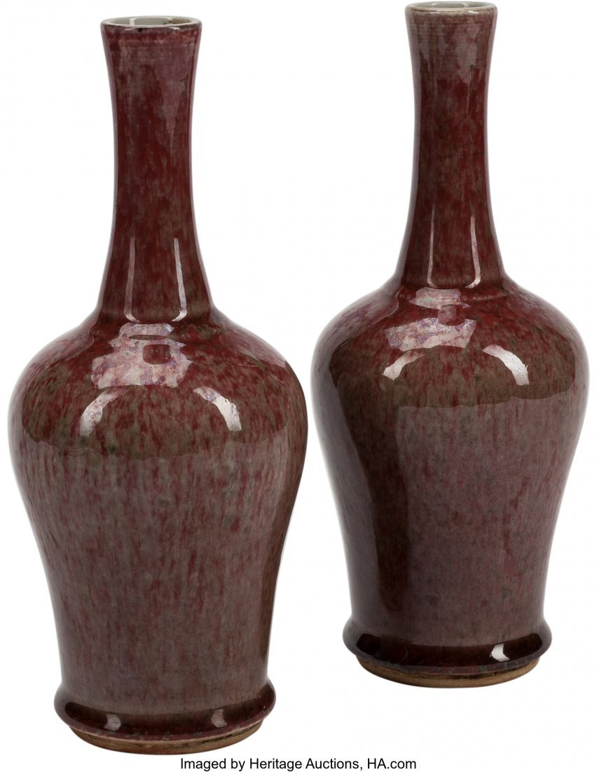 63504: A Pair of Chinese Oxblood Glazed Porcelain Ampho