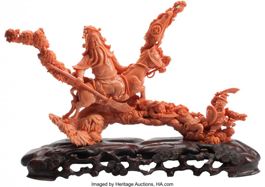 63505: A Chinese Carved Coral Figure on Hardwood Base 9