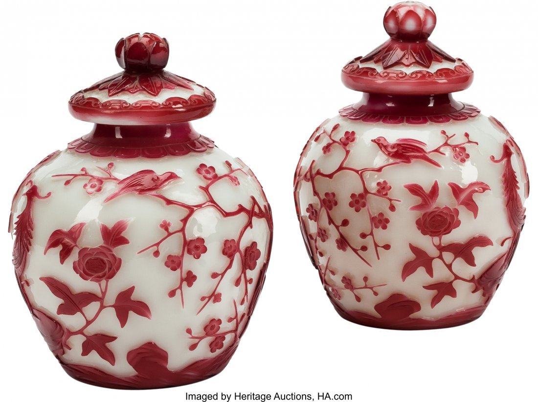 63509: A Pair of Red and White Peking Glass Covered Jar
