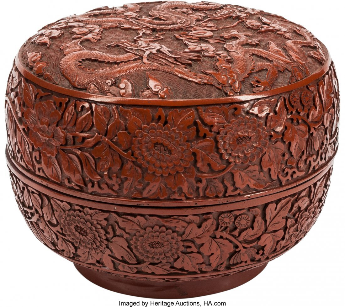 63510: A Chinese Cinnabar Lacquered Covered Box 8 inche