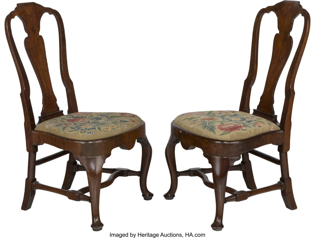 63521: A Pair of Queen Anne Walnut Side Chairs, 18th ce