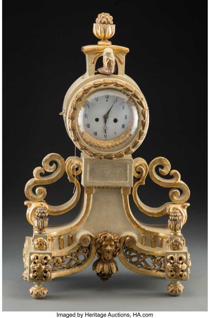 63529: A French Creme Piente and Giltwood Figural Clock
