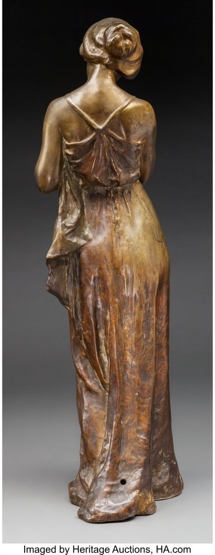 63706: A Large Bronze Figure of a Woman Holding a Candl - 2