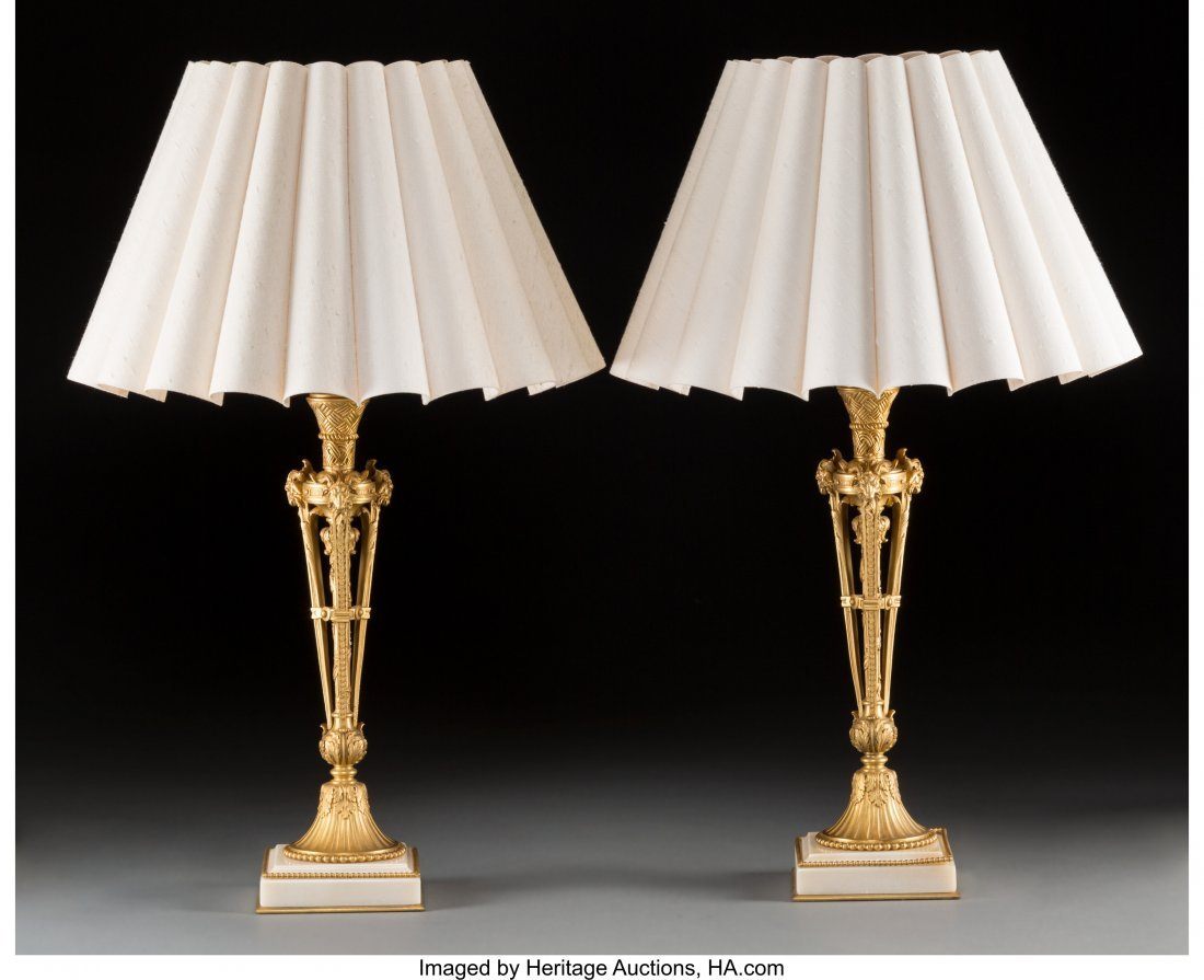 63710: A Pair of Empire-Style Gilt Bronze Table Lamps w